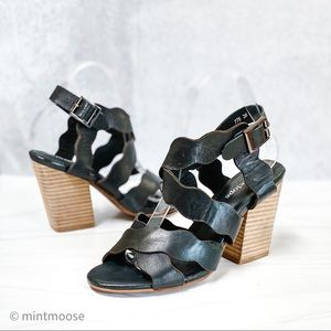 ANTELOPE Black Leather Scallop Crossover Sandals